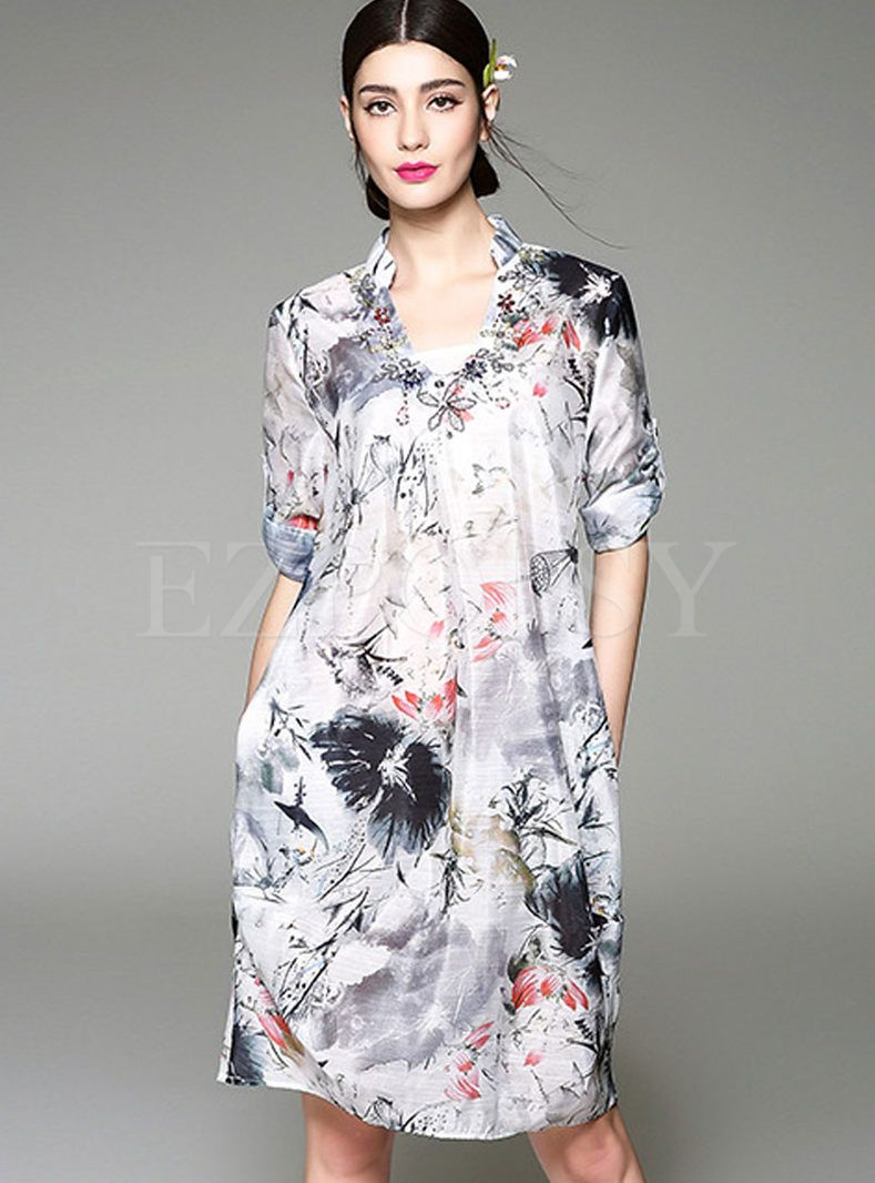 Shop for high quality Vintage Stand Neck Print Dress online at cheap prices and discover fashion at Ezpopsy.com