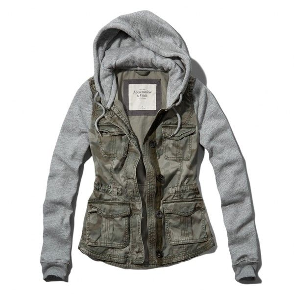 Abercrombie & Fitch Stephanie Jacket (€62) ❤ liked on Polyvore featuring outerwear, jackets, tops, camo, military camo jacket, military camouflage jacket, abercrombie & fitch, camoflauge jacket and button up jacket
