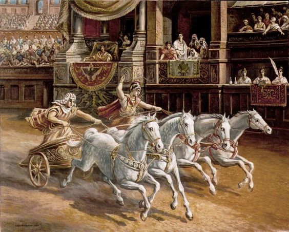 The Romans took up chariot racing from the start, according to legend using it in their plan to rape the Sabine women. Fans became fanatical supporters of the four coloured teams who took part in the races, chucking nailed amulets at their opponents. One supporter of the Red team burned himself alive on the funeral pyre of one of their driving favourites. Fan violence was commonplace.: