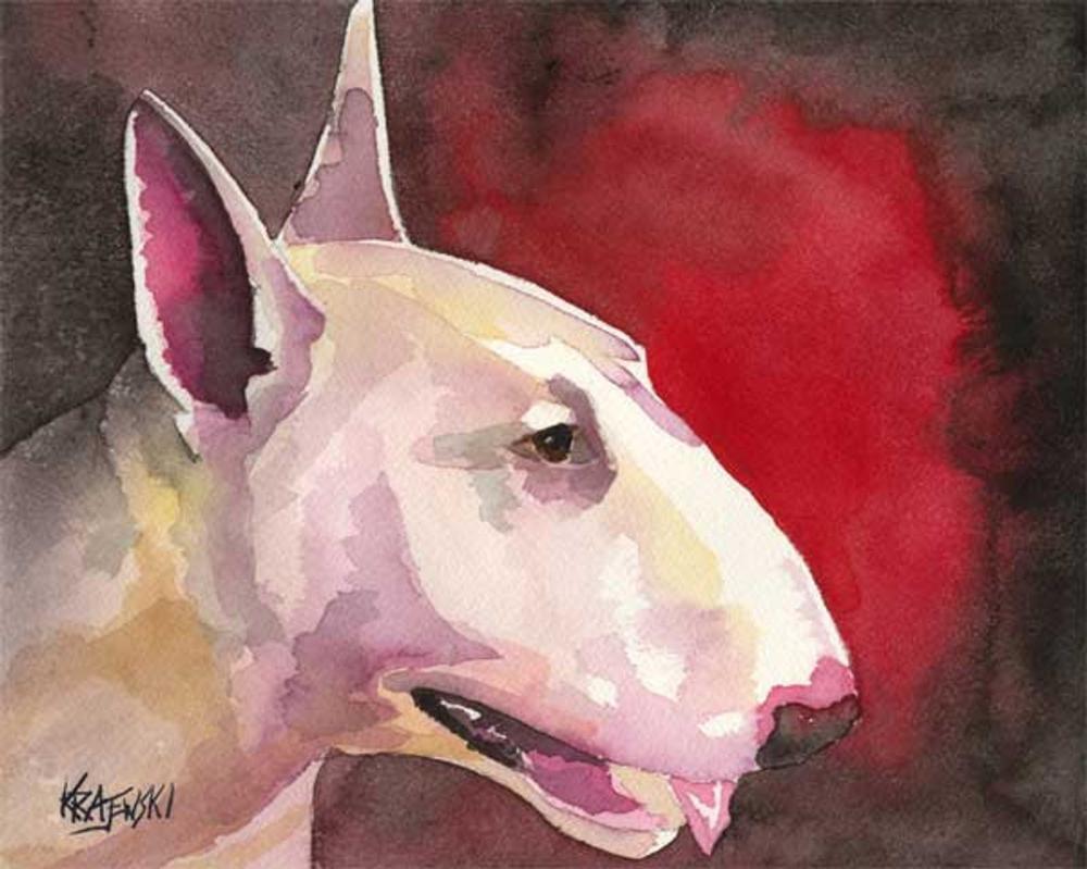 Pit Bull Art Print Signed by Artist Ron Krajewski Painting 8x10