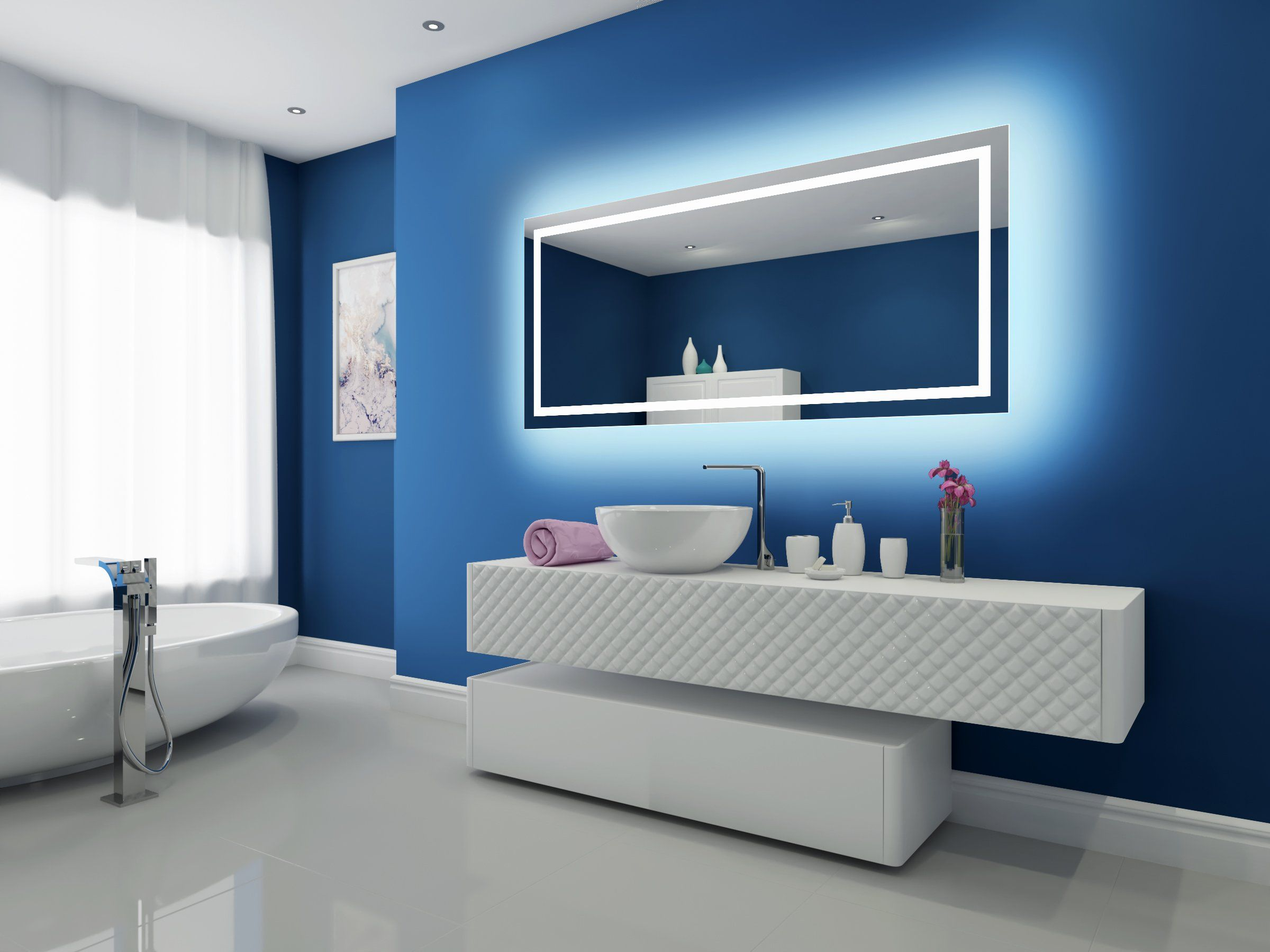 Dimmable Backlit Mirror Harmony 70 X 32 | Backlit mirror and Master ...