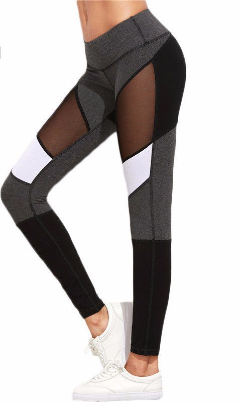 527023a96652a6 Women's Sexy Spring Fashion -Mesh Color Block Work Out Fitness Stretch Yoga  Pants
