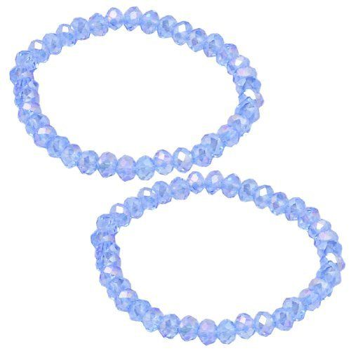 "Rosallini 2 x Glitter Blue Faux Crystal Beads Stretchy Bracelets Bangle for Woman Rosallini. $3.39. Weight : 16g. Material : Plastic;Flat Girth : 14cm / 5.5"". Package : 2 x Elastic Bracelet. Each Bead Dia. : 6mm/ 0.23"";Color : Blue. Product Name : Bracelet;Fit for : Ladies"