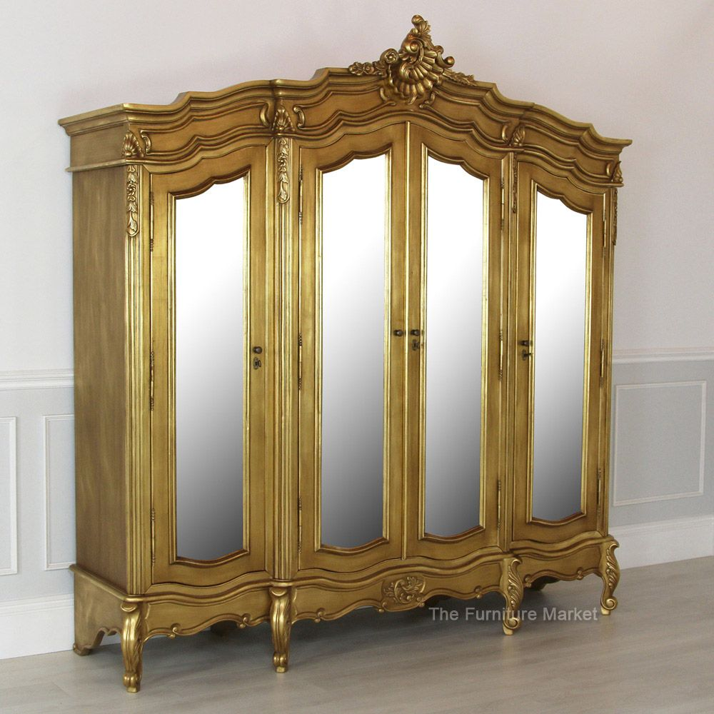 French Gold Leaf 4 Door Mirrored Armoire | Bedroom | Pinterest ...