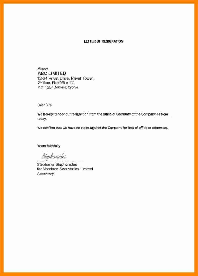 Short Notice Resignation Letter Template from i.pinimg.com