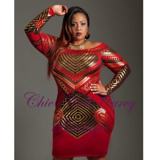 Bodycon red dress plus size