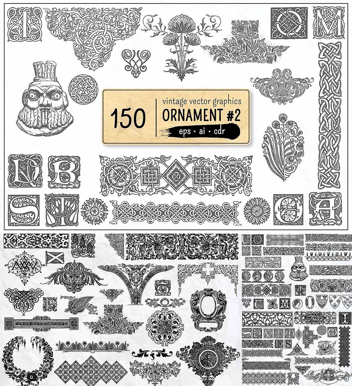 150 Vintage Vector Ornament Free Download Vector Vector Free Vintage