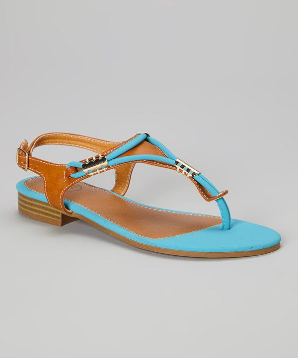 This Blue & Brown Embellished Sandal by Carrini is perfect! #zulilyfinds