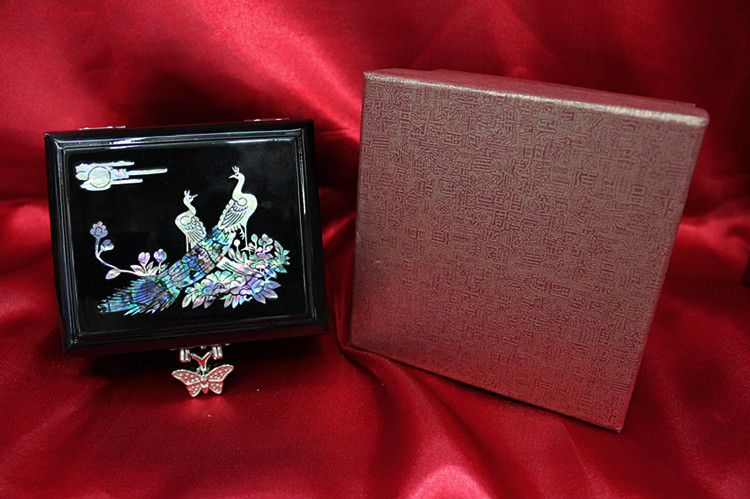 Chinese style antique wooden black peacock jewelry box