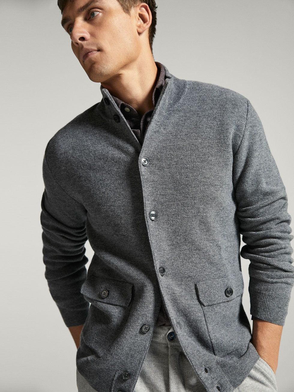 WOOL/CASHMERE TEXTURED WEAVE CARDIGAN - Men - Massimo Dutti | his ...