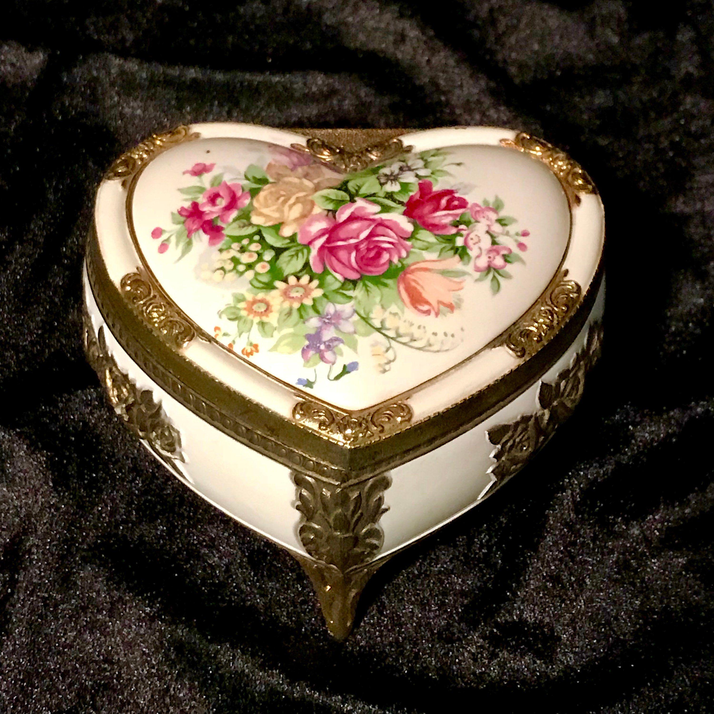 Vintage Victorian Style Heart,Jewelry Storage Boxes Vintage Heart,40\u2019s Ceramic Jewelry Box,Hearts,50\u2019s Jewelry Box,Ceramic Container