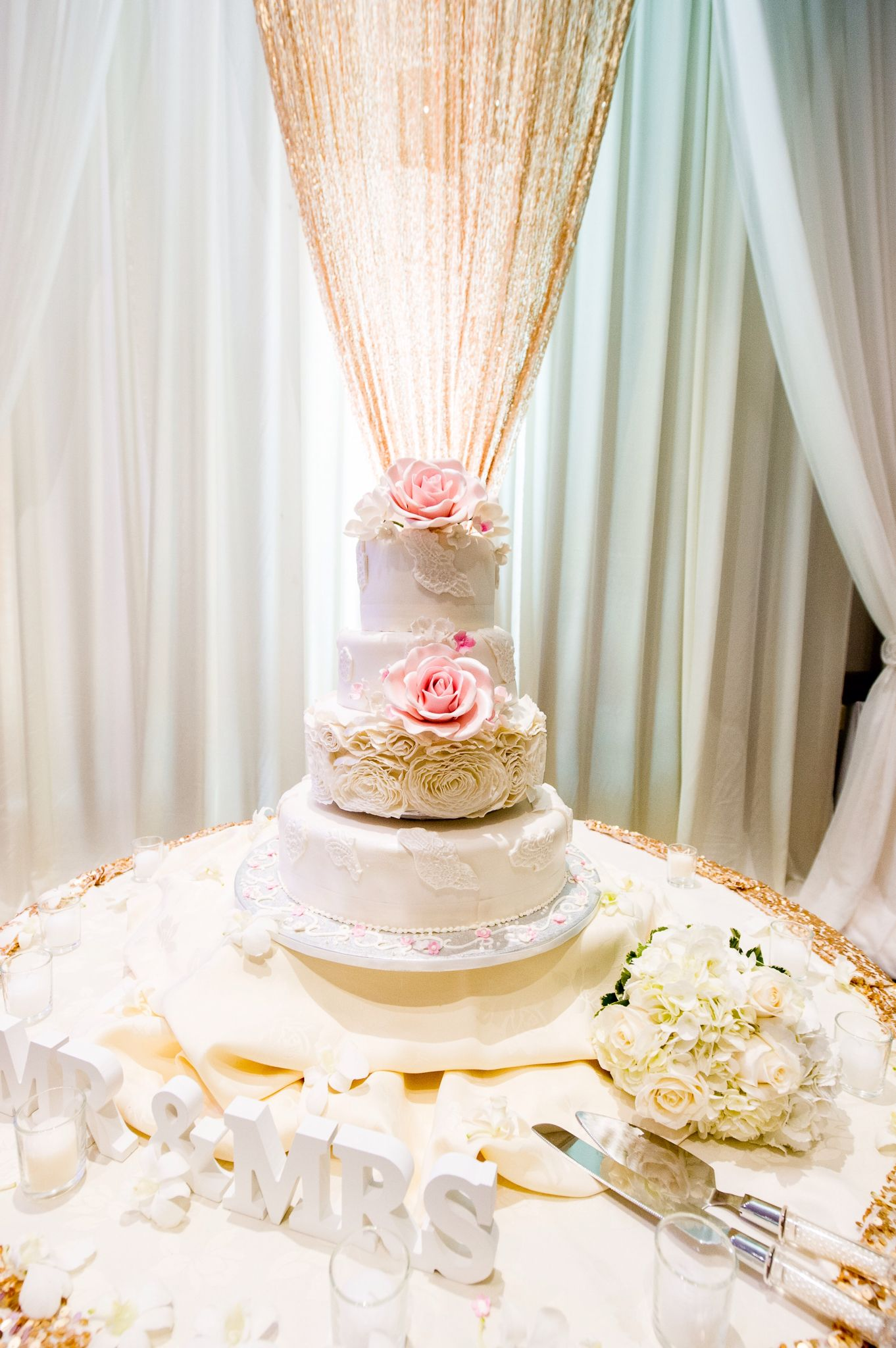 Mr & Mrs Wedding Cake & Table Set Up with a classic blush, gold and ...