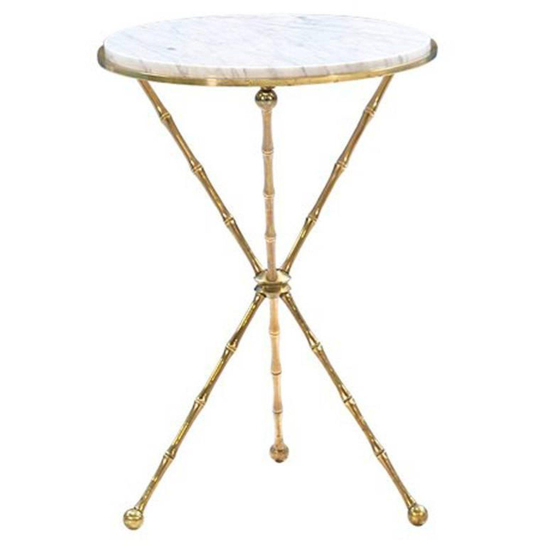 italian faux bamboo tripod side table with carrara marble top faux