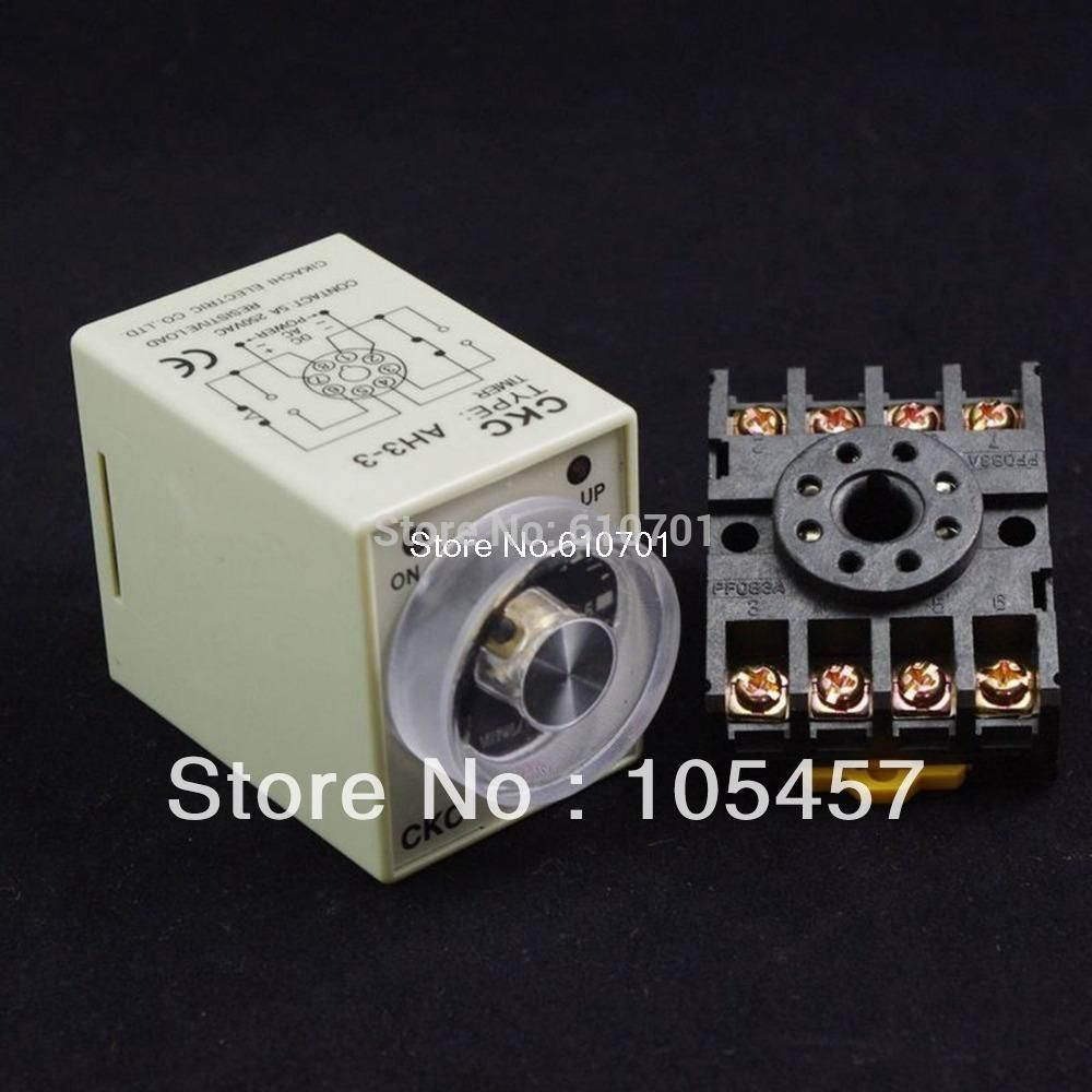 12v 24vdc 12 24v 110v 220vac Power On Delay Ah3 3 Timer 0 60 Second Relay With Socket Base Pf083a 8pins Relay Timer Power
