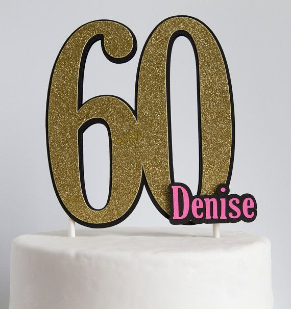 Personalized Glitter Birthday Number Cake Toppercenterpiece 40th
