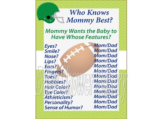 baby shower game football theme baby shower who knows mommy best