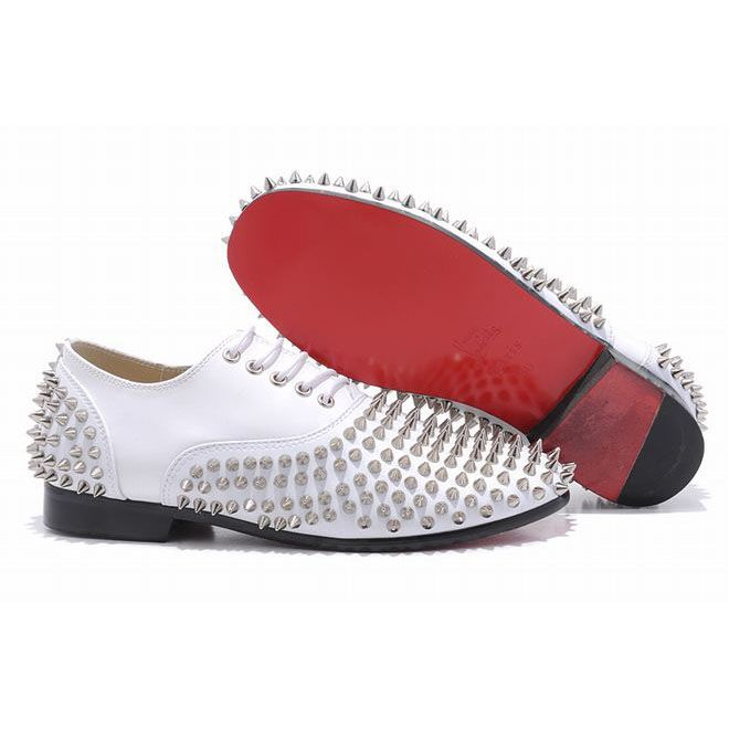 christian louboutin rollerboy spikes leather mens flat shoes white rh pinterest com