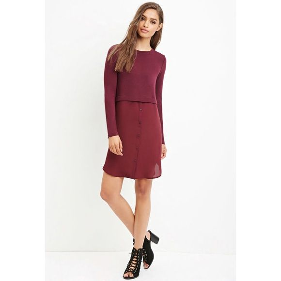 04ad45bfd4b7 Forever 21 Sweater Chiffon Combo Dress New never worn but tags removed.  Maroon  Wine in color Forever 21 Dresses Long Sleeve