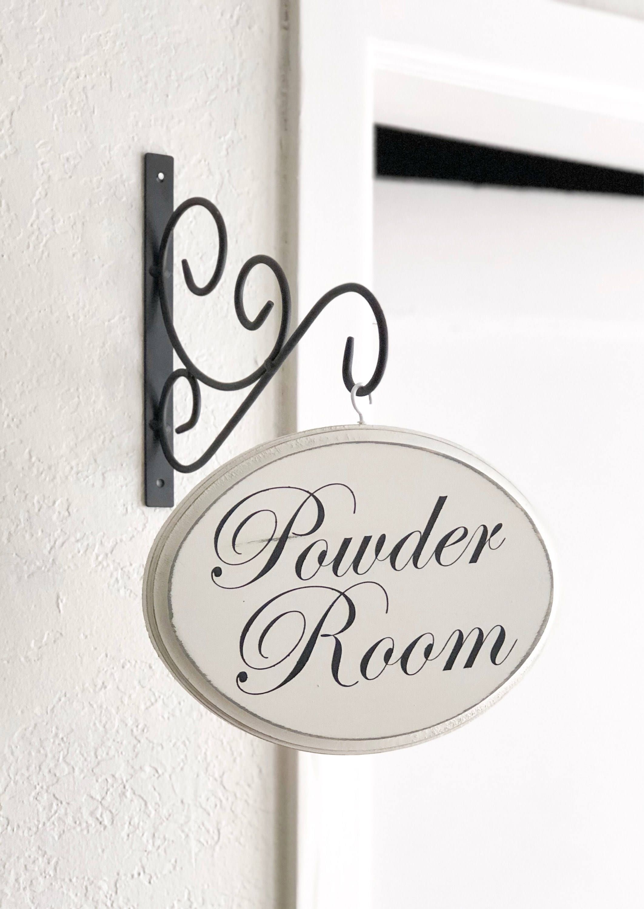 Powder room sign hanging powder room sign restroom sign bathroom wall decor bathroom signs christmas gift gift for her by thegreendoorhomedeco