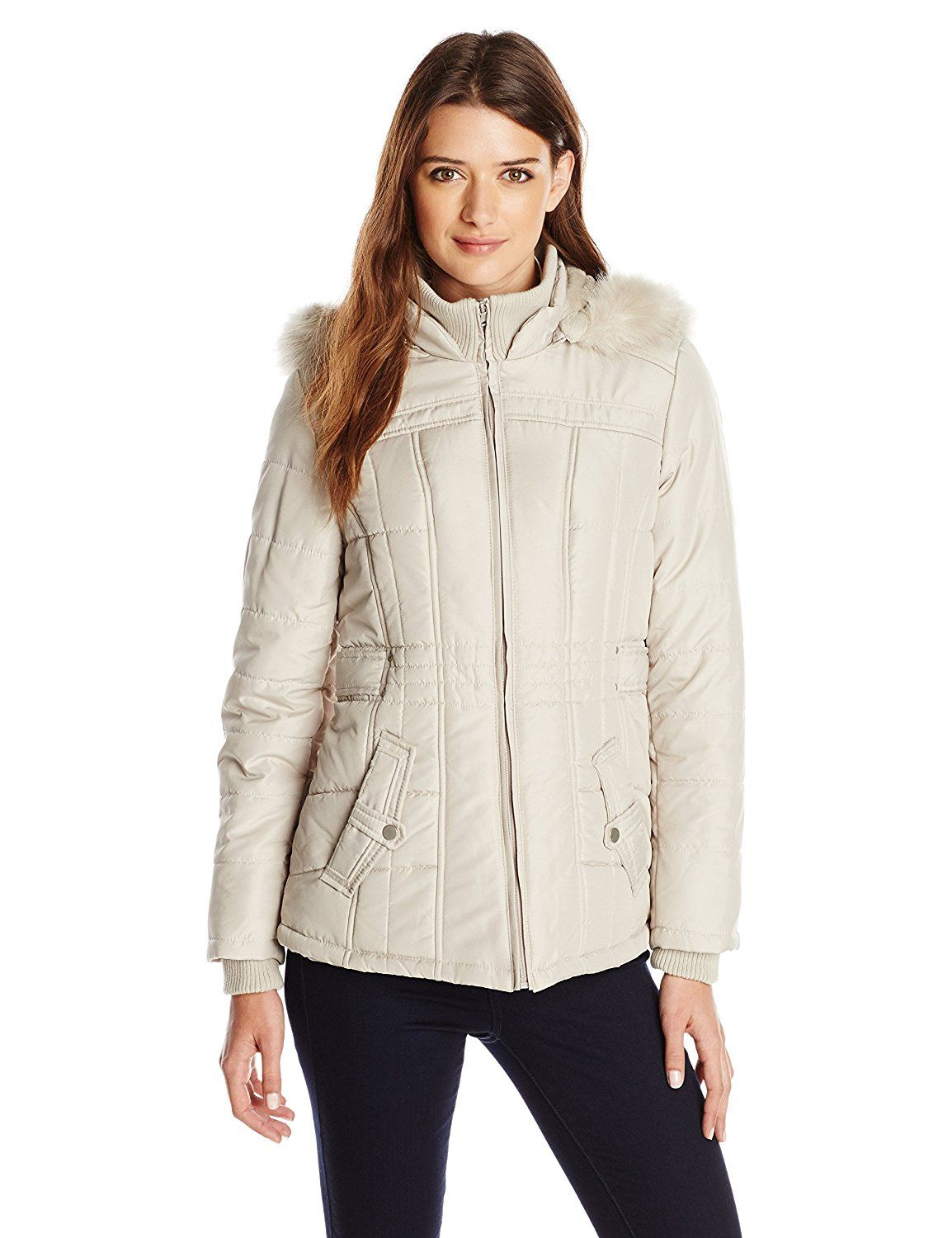 Weathertamer Women's Puffer Jacket with Faux FurTrimmed