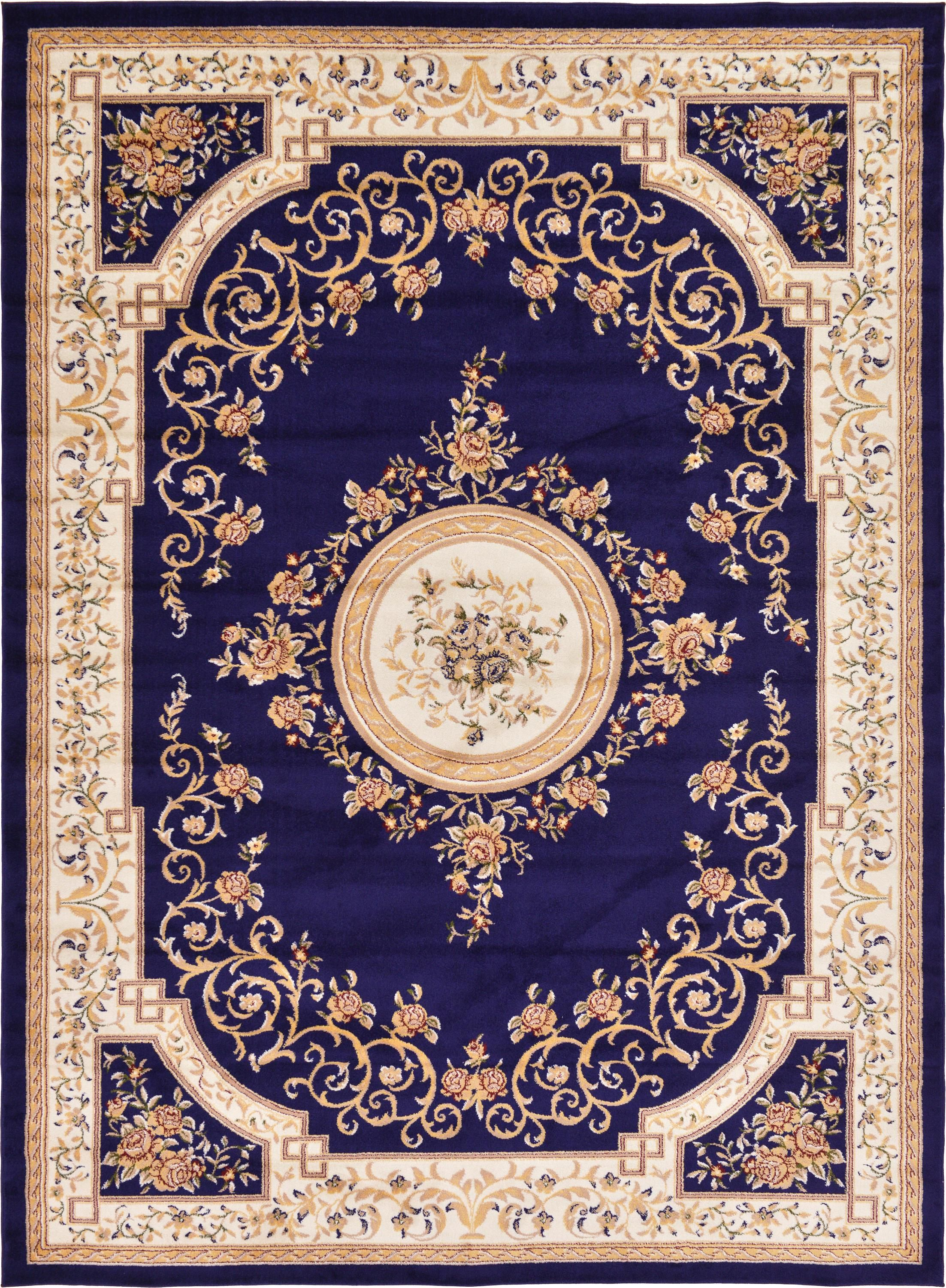 Navy Blue 9 X 12 Classic Aubusson Rug Area Rugs Esalerugs Textured Carpet Aubusson Rugs Round Carpet Living Room