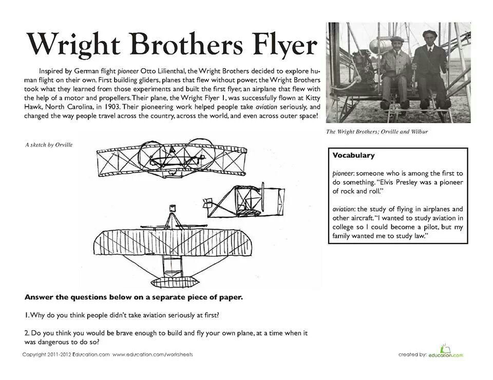 Fourth Grade History Worksheets: National Treasures: The Wright Brothers\u0027 Flyer