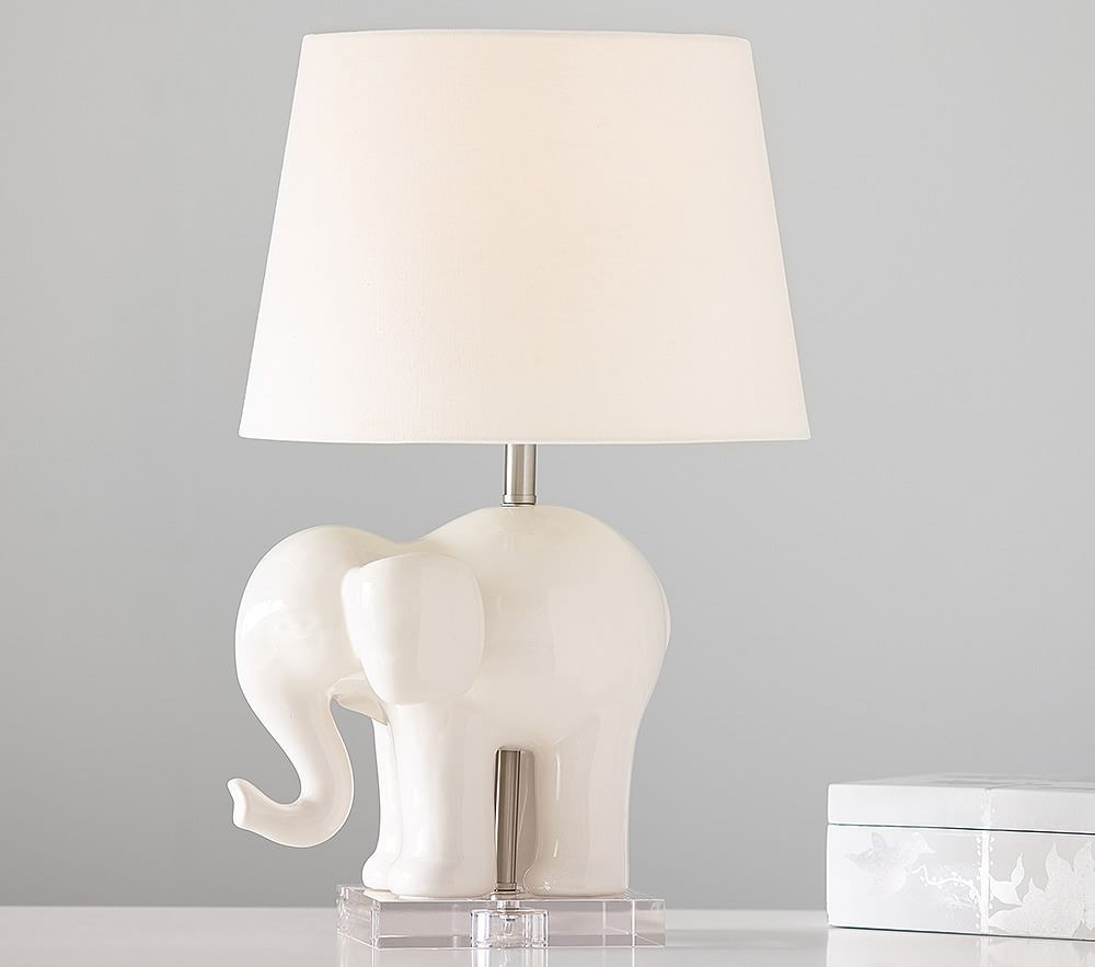 Be Proud Of The Elephant In The Room With This Bold Elephant Figurine As A Table Lamp Base In A White Finish Comp Elephant Lamp Elephant Table Lamp Animal Lamp