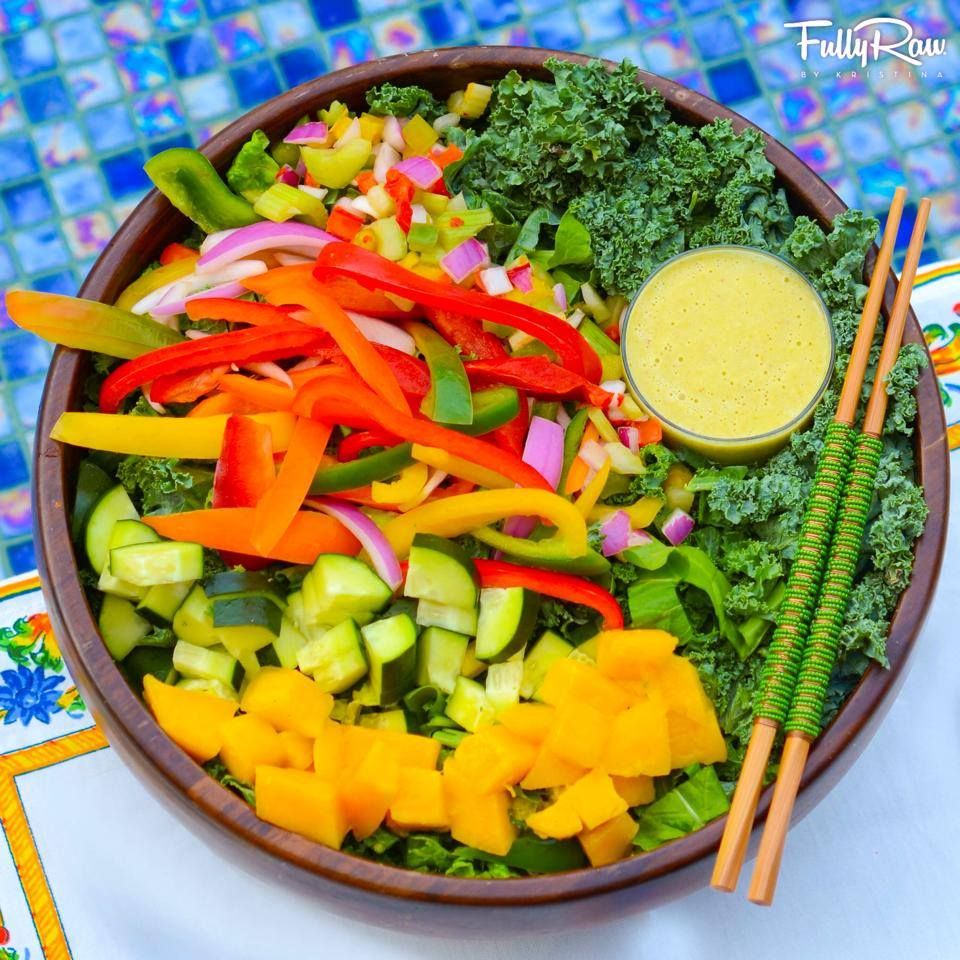 Dynamic Orange Tomato Dressing Video Raw Vegan Recipe: Tonight's Dinner Is Local Leafy Greens With Mango, Rainbow