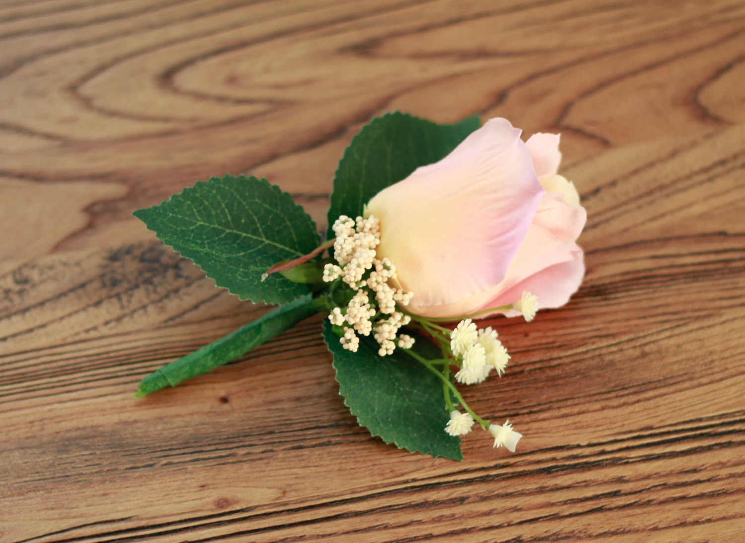 Pink and Apricot Boutonniere