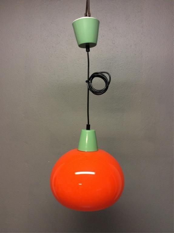 IKEA orange taklampaklotlampaglas lampa retrovintage