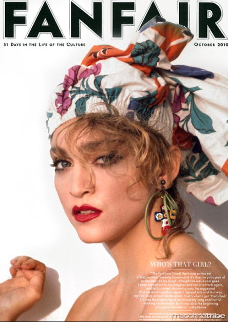 Retro Madonna cover, this scarf head wrap look is about to blow up.