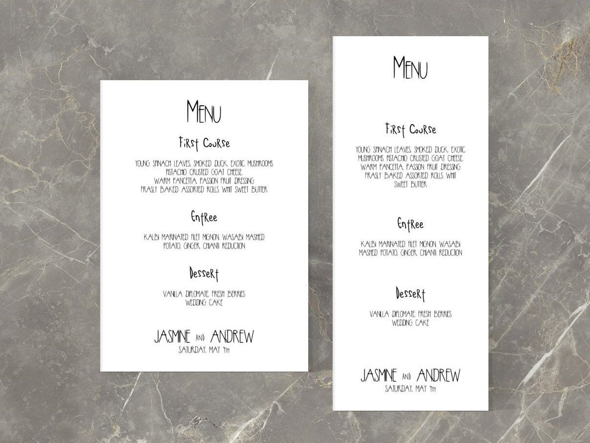Wedding Menu Printable Black And White Retro Menu