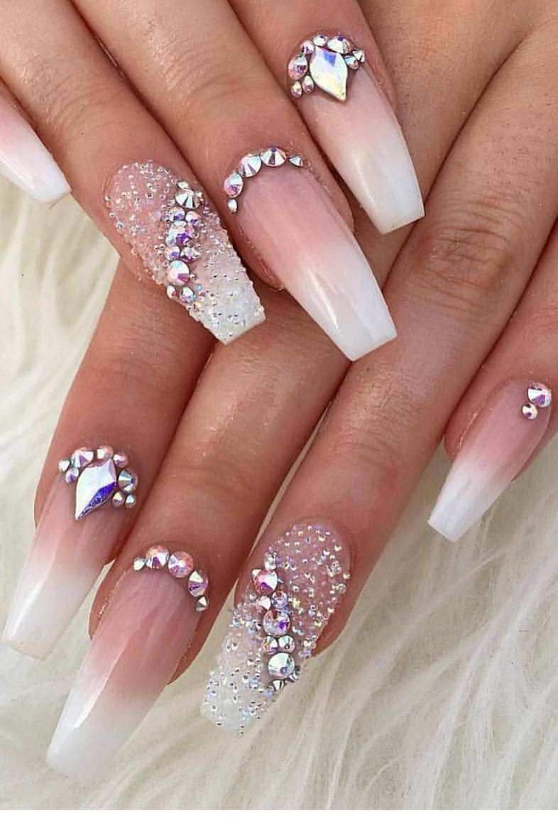 50 Best Ombre Nails Art Designs Ideas And Images For 2019 Page 9 Of 30 Evelyn S World My Dreams My Colors And My Life Diamond Nails Rhinestone Nails Ombre Nail Art Designs