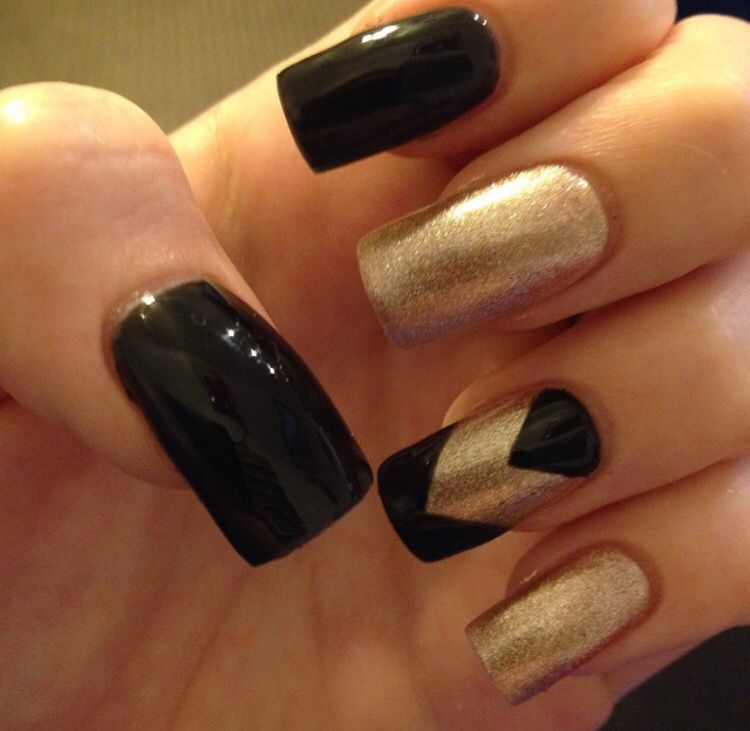 Black and gold acrylic nails   My style   Pinterest   Acrylics, Prom ...