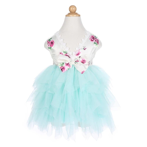 Baby Girls Backless Rose Floral Princess tutu Dress Tulle Costumes for Wedding Party Dresses Special occasions Girl Clothes