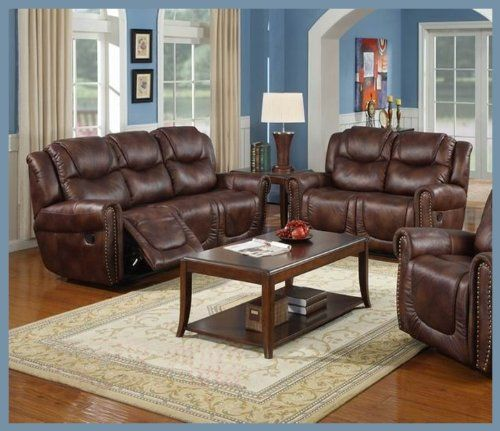 Living Room Set Amazon: Nora Brown Leather Reclining Sofa, Loveseat 2 Pc Living