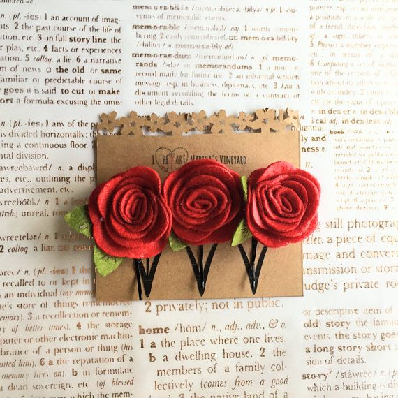 Set of 3 red rose flower Bobby Pins/Choose your colors/Floral