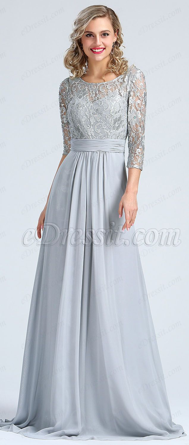 Long sleeves grey embroidery lace prom gown mother of