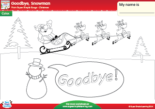goodbye snowman christmas coloring worksheet from super simple learning prek kindergarten esl