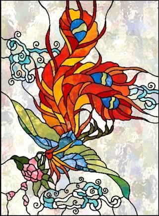 Chinese Phoenix Stained Glass Painting