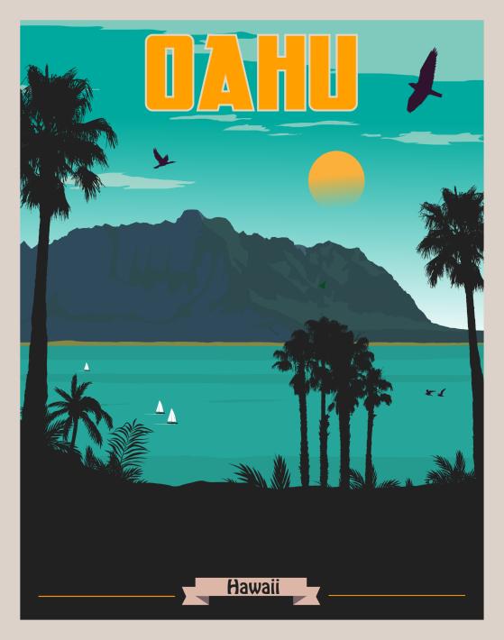 Oahu Hawaii Wall Art Art Deco Poster Travel Posters Vintage Travel Posters Oahu Travel