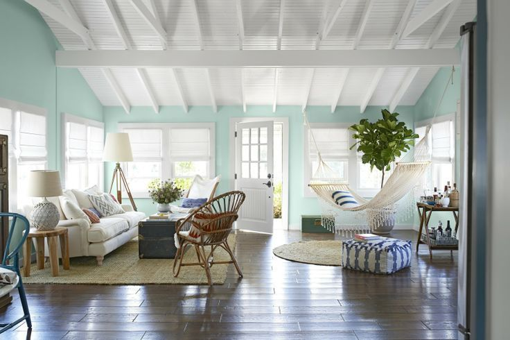 Delicieux Key West Style Simple White Raster Ceiling, Elevated Cross Beams, Beadboard  In Between,