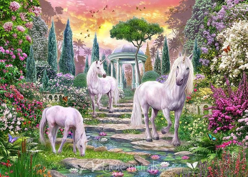 Classical Garden Unicorns Unicorn Wallpaper Unicorn Wall Art