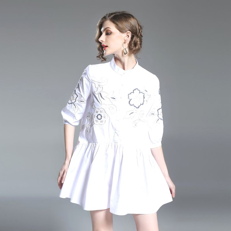 31fd647f776 Europe Style Summer Women Dress New Half Sleeve Embroidery Casual Loose Large  Size White Shirt Dress