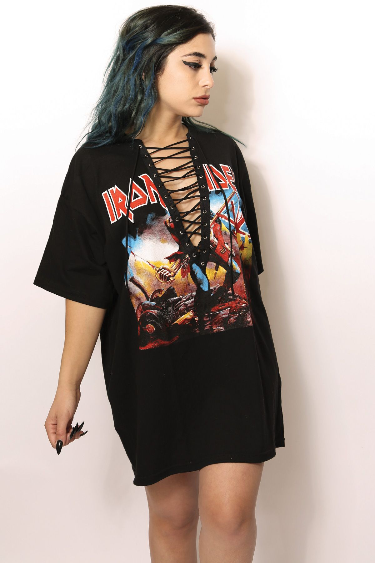 Black t shirt with lace - Iron Maiden Lace Up T Shirt Dress Pinterest Beth Evans