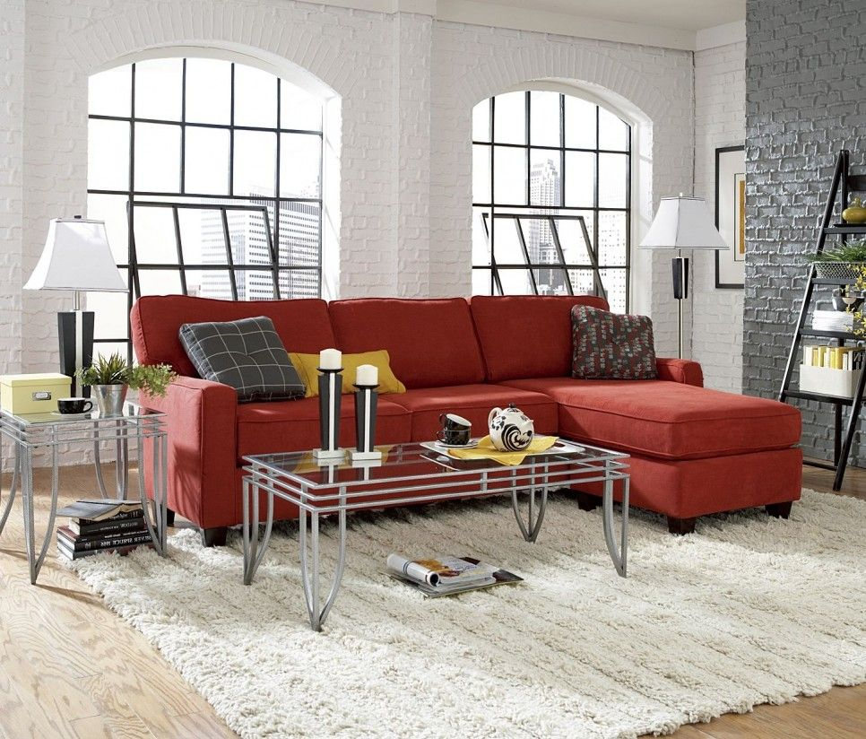 Decoration Modern Living Room Interior With White And Grey Fake Brick Wall Ideas Red Faiber Sectional Sofa Chaise Glass Metal Table