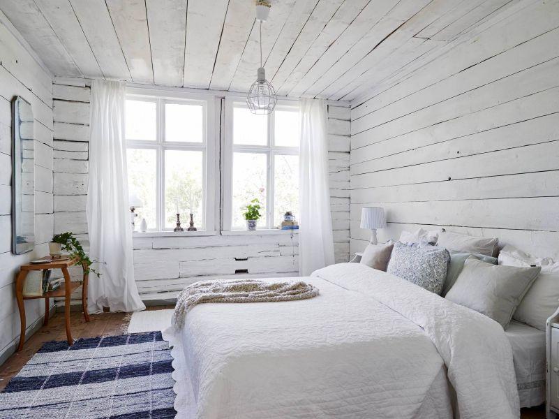 Letni Domek W Stylu Skandynawskim Biała Sypialnia Wnętrze