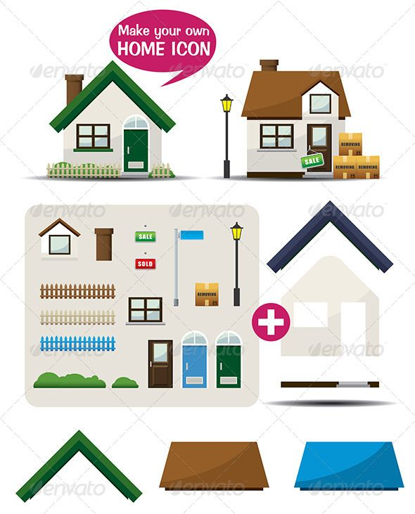 Make Your Own Home Icon Cartoon City Art Boxes And Icons