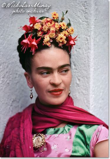 c64004827 'Frida [Kahlo] in Pink and Green Dress', a photograph taken by her friend  Nickolas Muray. '