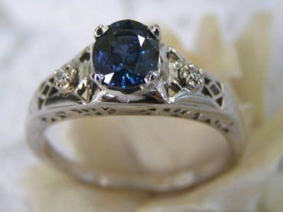 ANTIQUE ESTATE 14KT WG SAPPHIRE DIAMOND FILIGREE DECO ENGAGEMENT RING